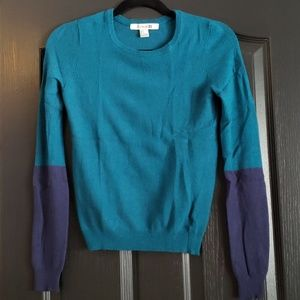 Teal colorblock Forever sweater
